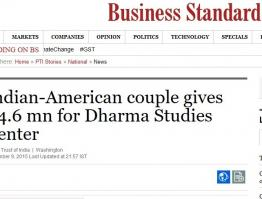 Indian-American couple gives $4.6 mn for Dharma Studies Center