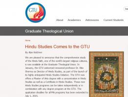 Hindu Studies Comes to the GTU