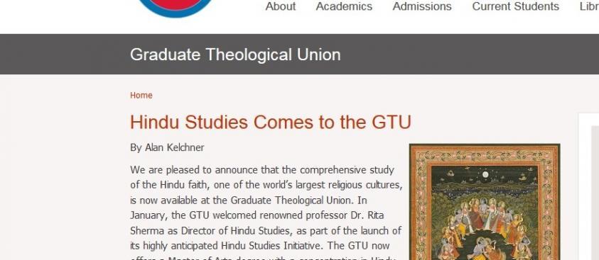 Hindu Studies Comes to the GTU