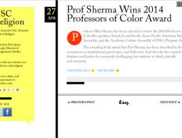 Prof Sherma Wins 2014 Professors of Color Award