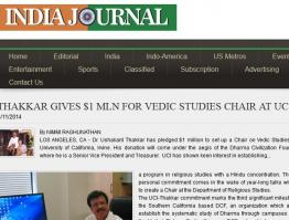 Thakkar Gives $1 Mln For Vedic Studies Chair at UCI