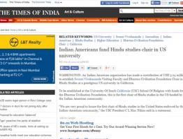Indian Americans fund Hindu studies chair in US university