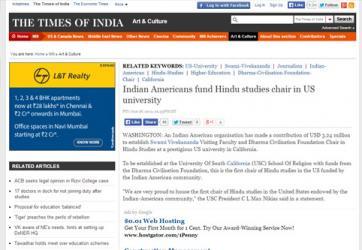 Indian Americans fund Hindu studies chair in US university
