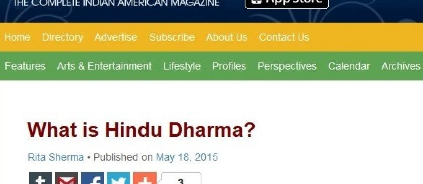 What is Hindu Dharma? – An article by Dr Rita Sherma