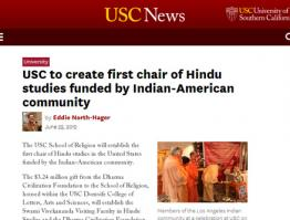 USC To Create First Chair of Hindu Studies Funded by Indian American Community
