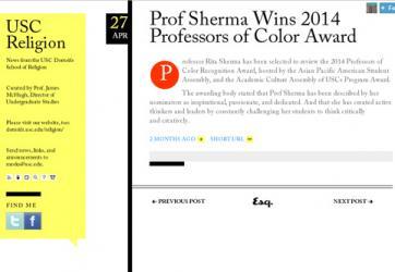 Prof Sherma Wins 2014 Professors of Color Award