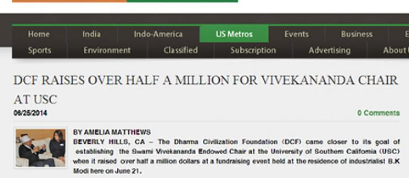 DCF Raises Over Half a Million For Vivekananda Chair at USC
